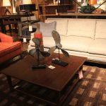 striped living room set