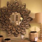 Brown circular mirror