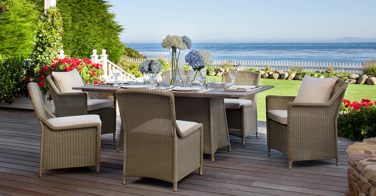 Patio furniture for an outdoor garden party