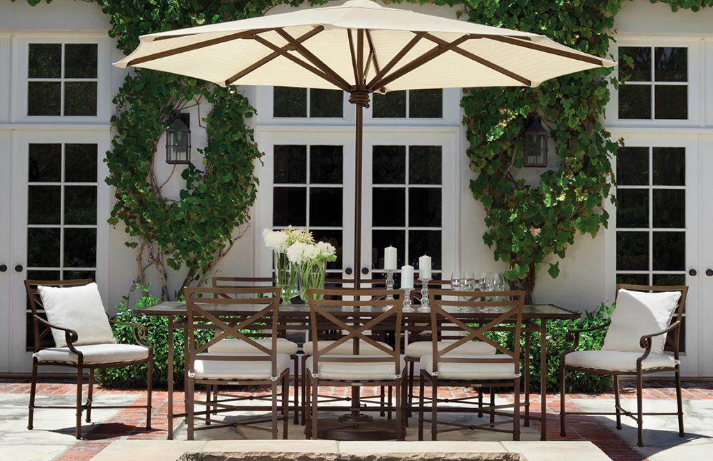 Patio furniture set up outdoor entertaining.