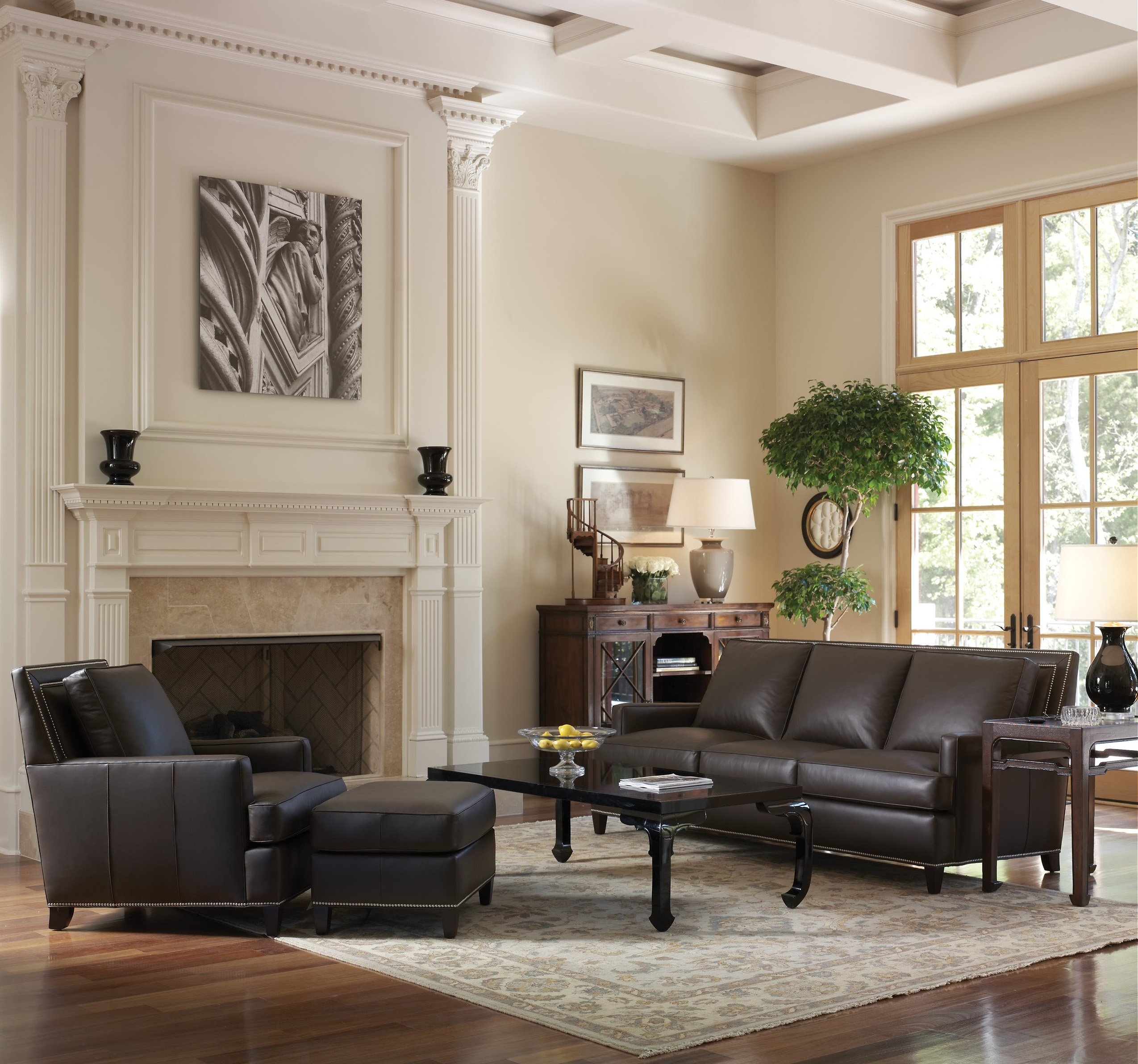 Leather furniture ensemble with Stowers Furniture